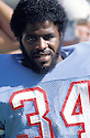 Houston Oilers Earl Campbell(34) during a game against the Cincinnati Bengals on September 28, 1980 at Riverfront Stadium in Cincinnati , Ohio. The Oilers beat the Bengals 13-10. Earl Campbell played 7 years with 2 different teams  He was a 5-time Pro Bowler, 3-time first team Pro Bowler and was inducted to the Pro Football Hall of Fame in 1991.