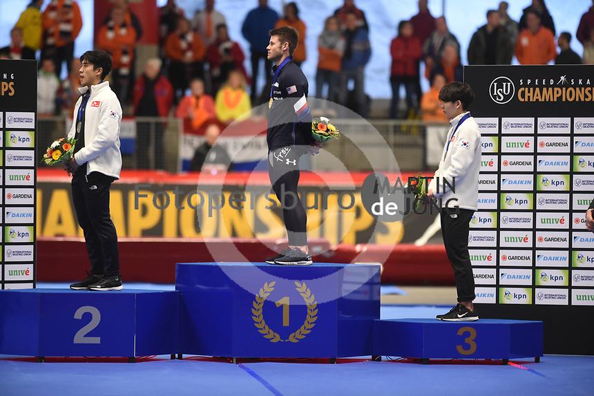 SPEEDSKATING: INZELL: Max Aicher Arena, 10-02-2019, ISU World Single Distances Speed Skating Championships, Podium Mass Start Men, Cheonho Um (KOR), Joey Mantia (USA), Jaewon Chung (KOR), ©photo Martin de Jong