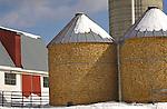 Corn cribs in winter