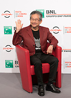 Il fumettista e scrittore giapponese Go Nagai posa durante un photocall per la presentazione del film &quot;Mazinga Z Infinity&quot; alla Festa del Cinema di Roma , 27 0ttobre 2017.<br />
