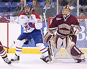 Bobby Robins, Cory Schneider - The Boston College Eagles defeated the University of Massachusetts-Lowell River Hawks 4-3 in overtime on Saturday, January 28, 2006, at the Paul E. Tsongas Arena in Lowell, Massachusetts.