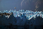 Jagged ice form on top of the glacier before 'calving' and breaking off into the sea.