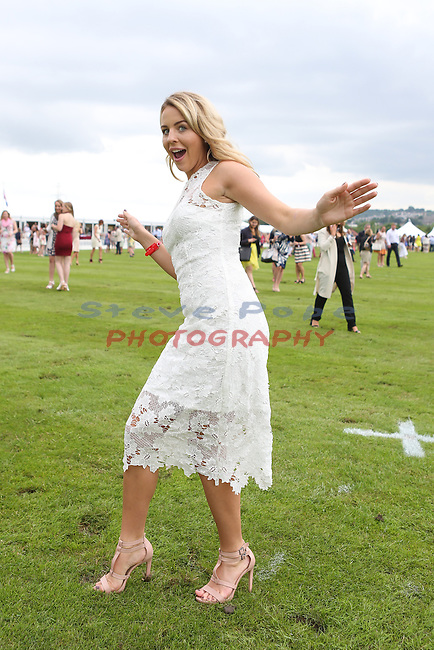 Ambassador Lydia Bright takes part in the fun treading of the divots during half time at Polo at the Manor<br /> Celtic Manor Resort<br /> 18.06.16<br /> &copy;Steve Pope <br /> Fotowales