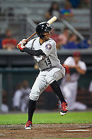 Tri-City ValleyCats shortstop Miguelangel Sierra (13) at bat during a game against the Auburn Doubledays on August 25, 2016 at Falcon Park in Auburn, New York.  Tri-City defeated Auburn 4-3.  (Mike Janes/Four Seam Images)
