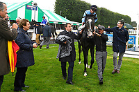 Winner of The British EBF Molson Coors Novice Stakes Div 1 Ascension ridden by Jack Mitchell and trained by Roger Varianis led into the Winner's enclosure during Horse Racing at Salisbury Racecourse on 14th August 2019