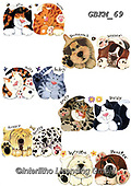 Kate, CUTE ANIMALS, LUSTIGE TIERE, ANIMALITOS DIVERTIDOS, paintings+++++Cats & dogs page 15,GBKM69,#ac#, EVERYDAY ,cat,cats ,dogs,dog ,puzzle,puzzles
