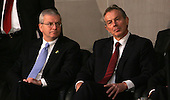 White House Chief of Staff Joshua Bolten looks over at Former UK Prime Minister Tony Blair during the opening session Middle East Peace Conference  at the U. S Naval Academy in Annapolis, Maryland on November 27, 2007 . Agency pool photo by Dennis Brack/Black Star