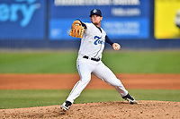 Asheville Tourists pitcher Nick Bush (29) delivers a pitch during game one of a double header against the Charleston RiverDogs at McCormick Field on April 9, 2019 in Asheville, North Carolina. The Tourists defeated the RiverDogs 17-3. (Tony Farlow/Four Seam Images)