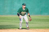 Augusta GreenJackets second baseman Jeremy Sy (25) on defense against the Hickory Crawdads at L.P. Frans Stadium on May 11, 2014 in Hickory, North Carolina.  The GreenJackets defeated the Crawdads 9-4.  (Brian Westerholt/Four Seam Images)