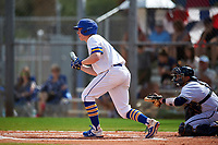 South Dakota State Jackrabbits shortstop Gus Steiger (3) squares to bunt during a game against the FIU Panthers on February 23, 2019 at North Charlotte Regional Park in Port Charlotte, Florida.  South Dakota State defeated FIU 4-3.  (Mike Janes/Four Seam Images)