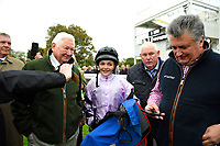 Connections, Jockey Megan Nicholls and Trainer Paul Nicholls in the winners enclosure after winning The Byerley Stud 'Season Finale' Handicap  with Moabit during Bathwick Tyres Reduced Admission Race Day at Salisbury Racecourse on 9th October 2017