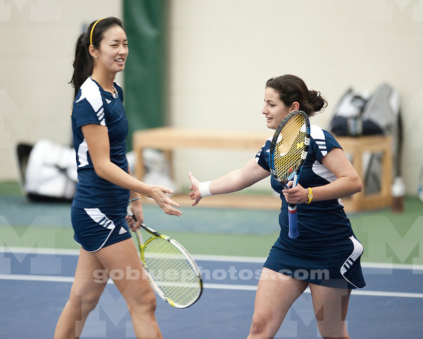 The 8th-ranked University of Michigan women's tennis team defeated Western Michigan University 7-0 at the Varsity Tennis Center in Ann Arbor, MI, on January 23, 2011.