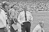 Washington Redskins head coach Vince Lombardi paces the sidelines with his assistant coaches and players during the game against the Saint Louis Cardinals at RFK Stadium in Washington, DC on October 12, 1969. Future Redskins head coach Bill Austin is pictured at lower right. The Redskins won the game 33 - 17.<br /> Credit: Arnie Sachs / CNP