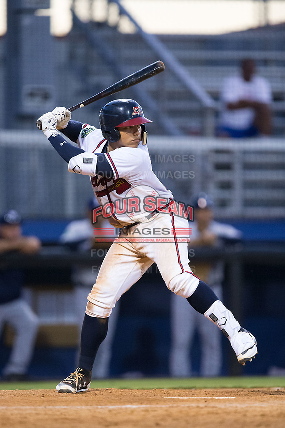 William Contreras (24) of the Danville Braves at bat against the Princeton Rays at American Legion Post 325 Field on June 25, 2017 in Danville, Virginia.  The Braves walked-off the Rays 7-6 in 11 innings.  (Brian Westerholt/Four Seam Images)