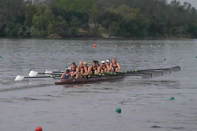 GOLD RIVER, CA - May 1:  Liz LaLonde, Talya Courtney, Kathleen Foster, Cassidy Baine, Alexa Aftias, Sydney Sutton, Sydney Johnson, Kaitlin Kovacich, and coxswain Jacque Yang during the West Coast Conference Rowing Championships at Lake Natoma on May 1, 2009 in Gold River, California.