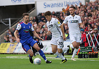 Swansea City's Daniel James battles with Ipswich Town's Gwion Edwards<br /> <br /> Photographer Ian Cook - CameraSport<br /> <br /> The EFL Sky Bet Championship - Swansea City v Ipswich Town - Saturday 6th October 2018 - Liberty Stadium - Swansea<br /> <br /> World Copyright &copy; 2018 CameraSport. All rights reserved. 43 Linden Ave. Countesthorpe. Leicester. England. LE8 5PG - Tel: +44 (0) 116 277 4147 - admin@camerasport.com - www.camerasport.com
