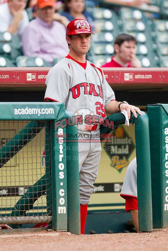 Utah Utes coach Bryan Kinneberg #29 watches the action from the top step of the visitors dugout during the game against the Texas A&M Aggies at Minute Maid Park on March 4, 2011 in Houston, Texas.  Photo by Brian Westerholt / Four Seam Images