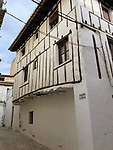 Requena-Valencia-Spain, January 09, 2018; <br /> half-timbered house, narrow alley in the old town - historic centre;<br /> Photo © HorstWagner.eu