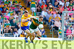 Stephen O'Brien Kerry in action against Cillian Brennan Clare during the Munster GAA Football Senior Championship semi-final match between Kerry and Clare at Fitzgerald Stadium in Killarney on Sunday.