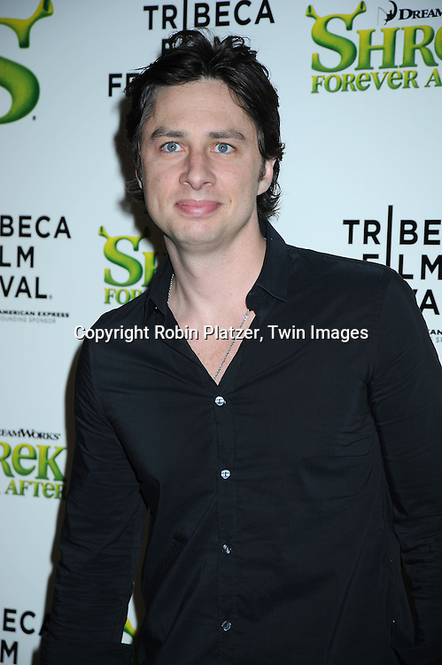 """Zach Braff arriving at The """"Shrek Forever After"""" world premiere at The opening night of The Tribeca Film Festival on April 21, 2010 at The Ziegfeld Theatre in New York City. The movie stars Cameron Diaz, Mike Meyers, Eddie Murphy and Antonio Banderas."""