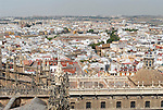 View from La Giralda over the roofs of the cathedral  towards La Maestranza and the Triana quarter in Seville,Spain.