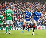 11.08.2019 Rangers v Hibs: Jermain Defoe celebrates his second goal with Jordan Jones