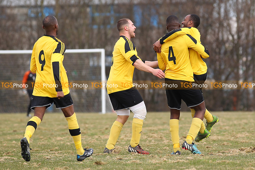 Boroughs celebrate their first goal - Boroughs United (yellow) vs Top Red - Hackney & Leyton Sunday League Junior Cup Semi-Final Football at East Marsh, Hackney Marshes, London - 08/03/15 - MANDATORY CREDIT: Gavin Ellis/TGSPHOTO - Self billing applies where appropriate - 0845 094 6026 - contact@tgsphoto.co.uk - NO UNPAID USE