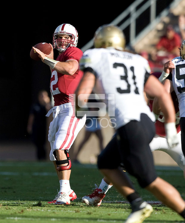 STANFORD, CA - October 8th, 2011: Andrew Luck throws the ball during a football game against Colorado in Stanford, California.   Stanford won, 48-7.