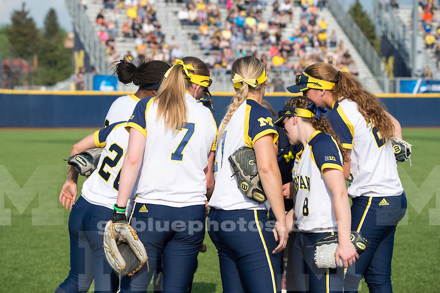 The University of Michigan softball team defeats Oakland, 9-1 (6 inn.) during the opening of the Ann Arbor Regional at Wilpon Softball Complex on May 15, 2015.