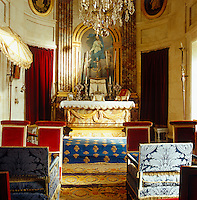 The ornate private chapel has also been fully restored to its original red, blue and gold splendour