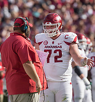 Hawgs Illustrated/BEN GOFF <br /> Kurt Anderson, Arkansas offensive line coach, coaches Frank Ragnow, Arkansas center, in the first quarter against South Carolina Saturday, Oct. 7, 2017, at Williams-Brice Stadium in Columbia, S.C.