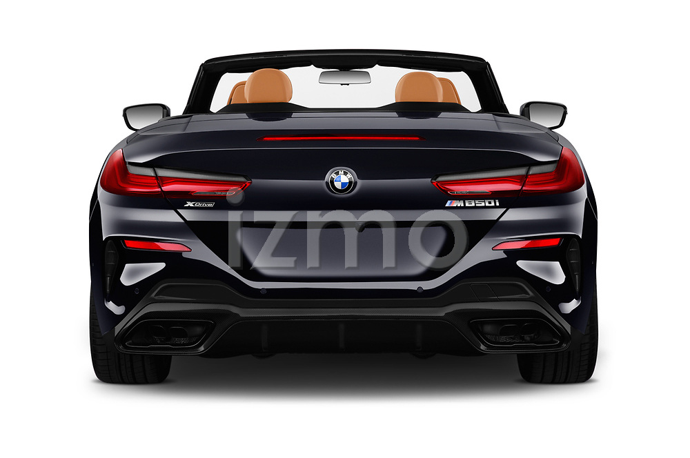 Straight rear view of 2019 BMW 8-Series - 2 Door Convertible Rear View  stock images