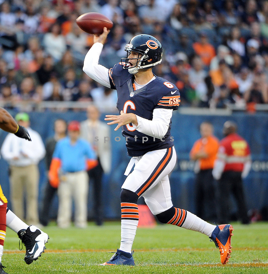 JAY CUTLER (6), of the Chicago Bears, in action during the Bears game against the Washington Redskins on August 18, 2012 at Soldier Field in Chicago, IL. The Bears beat the Redskins 33-31.