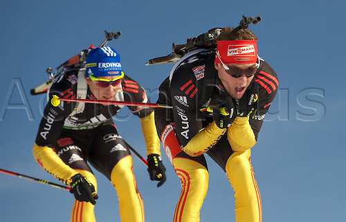 09.12.2011, Hochfilzen, Austria. The IBU Biathlon men's 10km Sprint Schempp Simon ger behind Birnbacher Andreas ger Biathlon World Cup