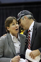 BERKELEY, CA - MARCH 30: Stanford AD Bob Bowlsby congratulates head coach Tara Vanderveer following Stanford's 74-53 win against the Iowa State Cyclones on March 30, 2009 at Haas Pavilion in Berkeley, California.