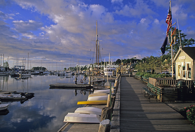 Harbor scene at sunrise, Camden, Maine, USA