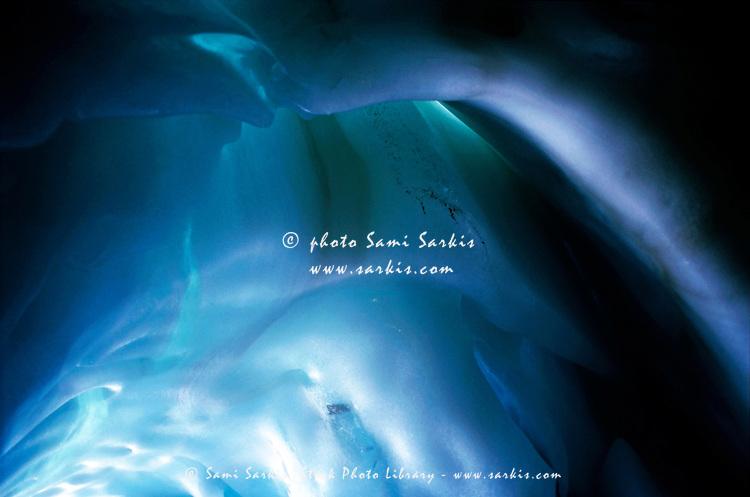Sculpted ice cave, Les Glaciers De La Meije, French Alps, France.