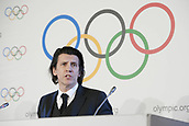 December 7th 2017, LAUSANNE, Switzerland;  Christophe Dubi, Olympic Games Olympische Spiele Olympia OS executive director of the International Olympic Committee (IOC), gestures during a press conference in Lausanne, Switzerland, Dec. 6 2017. The IOC on Tuesday decided to suspend the Russian Olympic Committee from the 2018 Pyeongchang Winter Olympic Games, while paving the way for clean Russian athletes to compete without bearing the Russian national flag.