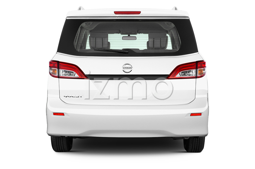 Straight rear view of 2017 Nissan Quest S 5 Door Minivan Rear View  stock images