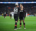 Leverksen's Kevin Kampl celebrates scoring his sides opening goal with Javier Hernandez during the Champions League group E match at the Wembley Stadium, London. Picture date November 2nd, 2016 Pic David Klein/Sportimage