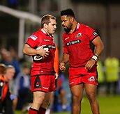 29th September 2017, RDS Arena, Dublin, Ireland; Guinness Pro14 Rugby, Leinster Rugby versus Edinburgh; Neil Cochrane of Edinburgh talks to Darryl Marfo of Edinburgh before the line-out