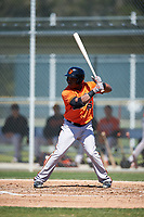 Baltimore Orioles Ademar Rifaela (85) at bat during a minor league Spring Training game against the Minnesota Twins on March 17, 2017 at the Buck O'Neil Baseball Complex in Sarasota, Florida.  (Mike Janes/Four Seam Images)