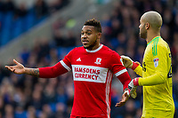 Darren Randolph of Middlesbrough attempts to instruct Britt Assombalonga of Middlesbrough at a corner during the Sky Bet Championship match between Cardiff City and Middlesbrough at the Cardiff City Stadium, Cardiff, Wales on 17 February 2018. Photo by Mark Hawkins / PRiME Media Images.