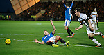 Martyn Waghorn gets a booking for tumbling in the box
