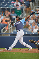 Trenton Thunder right fielder Jhalan Jackson (32) follows through on a swing during a game against the New Hampshire Fisher Cats on August 19, 2018 at ARM & HAMMER Park in Trenton, New Jersey.  New Hampshire defeated Trenton 12-1.  (Mike Janes/Four Seam Images)