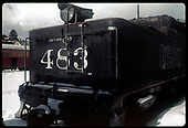 Close view of back of tender of #483 K-36 at Chama.<br /> D&amp;RGW  Chama, NM