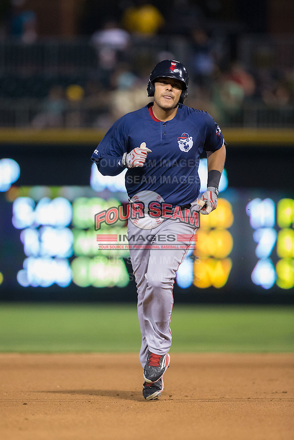 Chris Dominguez (17) of the Pawtucket Red Sox rounds the bases after hitting a home run against the Charlotte Knights at BB&T BallPark on July 6, 2016 in Charlotte, North Carolina.  The Knights defeated the Red Sox 8-6.  (Brian Westerholt/Four Seam Images)