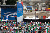 """Matteo Salvini (Leader of the Lega/League, former Deputy Prime Minister & Minister of the Interior of Italy).<br /> <br /> Rome, 04/07/2020. Today, few thousand people gathered in Piazza del Popolo to attend the demonstration """"Insieme Per L'Italia Del Lavoro"""" (Together For the Italy Of Work) organised by the Italian Centre-Right Parties: Lega (League, 1.), leader Matteo Salvini MP, Forza Italia (2.), leader Silvio Berlusconi MEP but today led by the Vice-President of the Party, Antonio Tajani MEP, and Fratelli d'Italia (3.), leader Giorgia Meloni MP. The aims of the rally were to protest against the Italian coalition Government (AKA Governo Conte II, Conte's Second Government, Governo Giallo-Rosso, 4.) lead by Professor Giuseppe Conte, to call for immediate general elections, to fight the immigration, and last but not least the three political leaders launched an attack from the stage against a part of the Italian Magistracy and called for establishing an inquiry commission about Berlusconi's judiciary situation.<br /> Before the demonstration, due to the pandemic Covid-19/Coronavirus, about 4.200 chairs were placed in the square to respect the """"social distance"""" between the people attending but a lot of them were empty for the full length of the event.<br /> <br /> Footnotes & Links:<br /> 1. https://www.leganord.org<br /> 2. http://www.forza-italia.it<br /> 3. https://www.fratelli-italia.it<br /> 4. http://bit.do/feK6N<br /> A video of the event (Source, ilfattoquotidiano.it ITA) http://bit.do/fGnDd"""