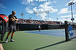 Wake Forest Demon Deacons head coach Tony Bresky watches the action against the Ohio State Buckeyes during the 2018 NCAA Men's Tennis Championship at the Wake Forest Tennis Center on May 22, 2018 in Winston-Salem, North Carolina.  The Demon Deacons defeated the Buckeyes 4-2. (Brian Westerholt/Sports On Film)