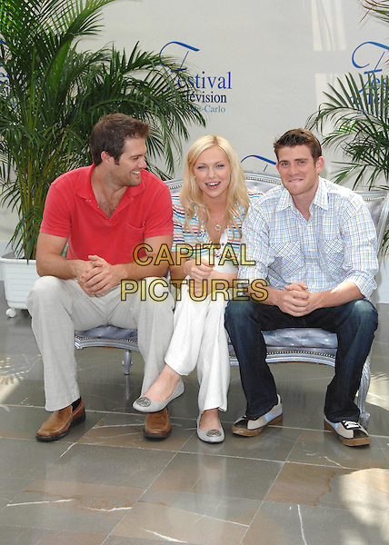 "GEOFF STULTS, LAURA PREPON & BRYAN GREENBERG.attends a photocall promoting the television series ""October Road"" on the third day of the 2008 Monte Carlo Television Festival held at Grimaldi Forum in Monte Carlo, Principality of Monaco, .June 10, 2008..full length red t-shirt cast sitting .CAP/TTL .©TTL/Capital Pictures"